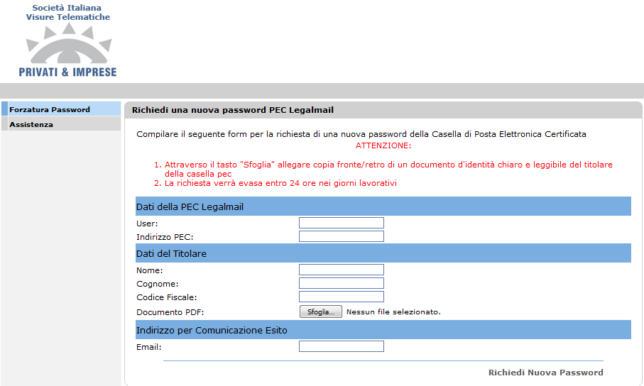forzatura password _pec